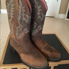 womens brown cowboy boots size 11 ariat s heritage stockman boot shoes heels boots heel