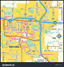 columbia missouri map columbia missouri area map stock vector 144155635