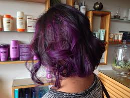 purple highlights and a faux bob done by jessica hanley at koda