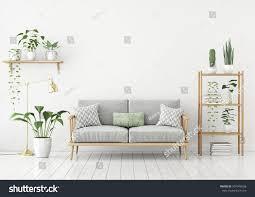 livingroom lamp urban jungle style livingroom gray sofa stock illustration