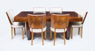 Art Deco Dining Room Set by Vintage 14ft 6in Burr Walnut Inlaid Dining Table Chairs C Arafen