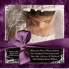 communion invitations for girl communion invitation photo purple