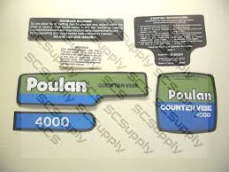 poulan 4000 countervibe decal set chainsawr