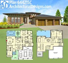 plan 64421sc modern prairie house plan for a rear sloping lot