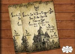 halloween haunted house invitation handmade digital invite