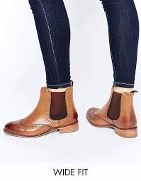 womens ankle boots uk leather the newest dune wide fit quenton leather brogue chelsea boots