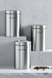 stainless steel canisters kitchen metal storage canisters set of 3 stainless steel tea coffee sugar