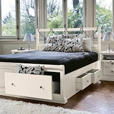 letto cassetti letto matrimoniale in legno bianco con cassettoni arredaclick