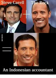 Indonesian Meme - steve carell the rock an indonesian accountant we know memes rock