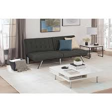 avenue green ella tufted grey linen convertible futon free