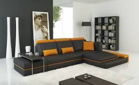 Modern Sectional Sofas Miami by Casa 5029b Modern Dark Grey And Orange Bonded Leather Sectional Sofa