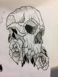 skull and flower tattoo design 4 5x6 marker on tracing paper art