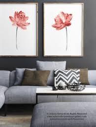 living room wall paintings lotus flower art print floral watercolor painting set of 2 blue