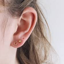 ear studds heart micro ear studs 14k gold womens jewellery open heart