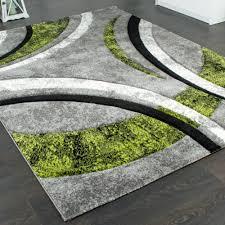 Wohnzimmer Schwarz Grun Designer Teppich Mit Konturenschnitt Streifen Modell Grau Grün