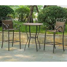 Bistro Set Bar Height Outdoor by International Caravan Valencia 3 Piece Resin Wicker Bar Height