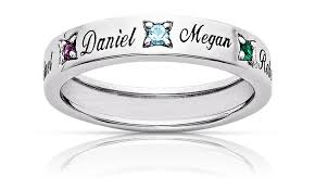 mothers ring with names birthstone sterling silver band limogès jewelry groupon