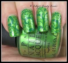 two tone green stamping nail art lazy betty