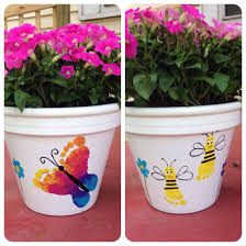 thumbprint art for kids painted flower pots craft idea paint