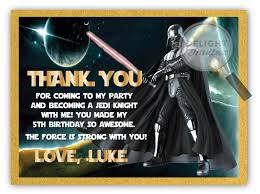 wars thank you cards darth vader wars birthday thank you card di 378ty