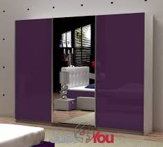 Purple High Gloss Bedroom Furniture Wardrobe Fox With Mirror Sliding Doors With High Gloss Various