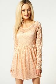 boohoo lucy v neck long sleeve lace skater dress