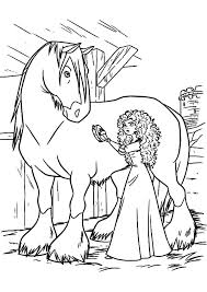 princess merida cleaning horse coloring pages color luna