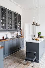 oak wood dark roast prestige door gray cabinets in kitchen