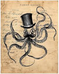 octopus decor octopus steampunk kraken tophat mustache ocean sea beach nautical