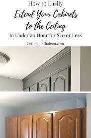 how to make cabinets appear taller how to extend your cabinets to the ceiling in an hour