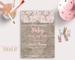 lace baby shower invitation invitation pink cardboard printable