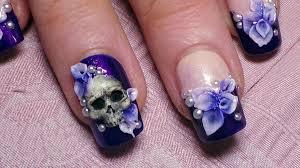 howto 3d skull u0026 flowers nail art tutorial youtube inside 3d