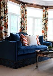 Orange And Blue Curtains Blue Velvet Sofa Transitional Living Room Porter Design Company