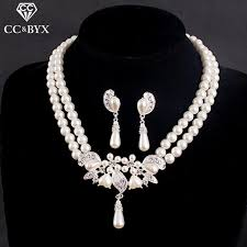 necklace sets design images High quality pearl earrings and necklace sets for women fine jpg