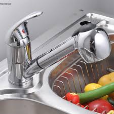 us chrome pull out spray kitchen sink basin mixer tap swivel