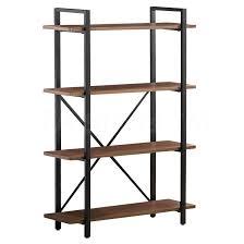hutches u0026 bookcases brown wood metal 4 shelf bookcase coa