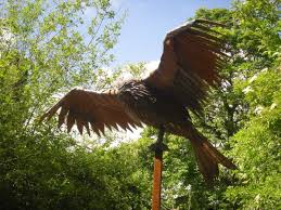 sculpture kite steel bird of prey size garden