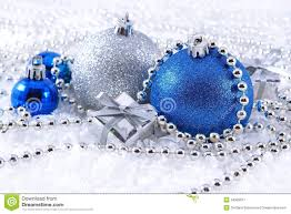silver and blue decorations stock image image 34509011