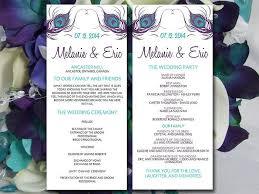 purple wedding programs peacock wedding program template teal eggplant purple