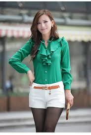 green womens blouse best quality wholesale promotional blouese fashion dress
