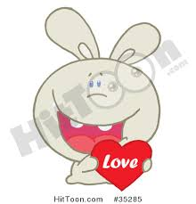 rabbit clipart 35285 caring beige rabbit laughing holding