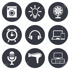 home appliances device icons ventilator sign hairdryer washing