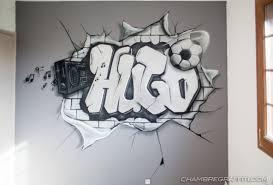 graffiti chambre hugo graffiti en noir gris et blanc sur le thème du et de la