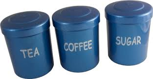 blue plastic tea coffee sugar storage canisters jars pots camping