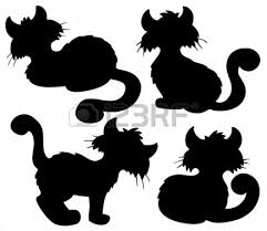 Halloween Silhouette Cartoon Cat Silhouette Collection Illustration Stock Photo