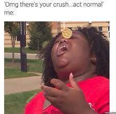 Cute Memes For Your Crush - omg there s your crush act normal me i m awkward pure