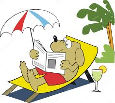 drink vector vector cartoon of dog relaxing on deckchair with newspaper and