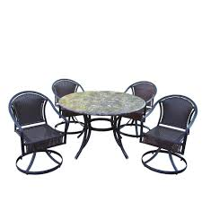Swivel Patio Dining Chairs Oakland Living Stone Art 48 In 5 Piece Tuscany Swivel Patio