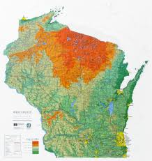 Wisconsin State Parks Map by Wisconsin State Raised Relief Map