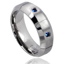blue titanium wedding band men s titanium blue sapphire beveled edge wedding band free